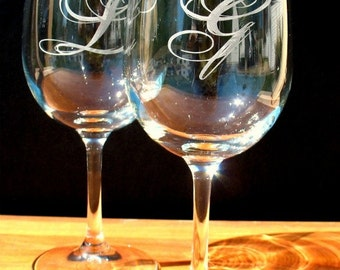 FOUR Custom Engraved Monogram Wine Glasses