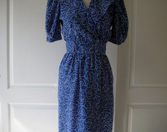 80s royal blue rose print Petites for Maggy dress