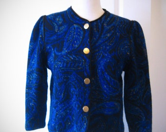 80s blue and black Devernois cardigan