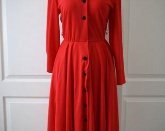 70s red Caron Lou Rose shirtdress