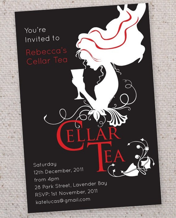 Vintage Cellar Tea invitations.