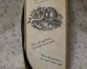 Alice in Wonderland Cheshire Cat Bookmark- vintage style, shabby chic style hang tag, unisex, ephemera, bookmark tag, parchment