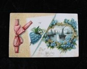 Delicate Blue Flowers, Love, and Ships in the Distance   Vintage Postcard                         Best Wishes