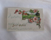 Best Wishes Cherry Blossom and Cottage Near Lake                   Vintage Postcard
