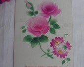 Pink Rose Blossoms   Trademark Otto Schloss   Vintage Postcard