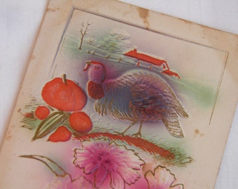 Vintage Thanksgiving Postcard Turkey and Pumpkin Post Card - circa 1900