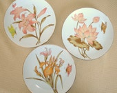 3 Matched Vintage Hanging Plates. Porcelain. Decorative Floral Designs.  Daylily, Iris, Waterlily