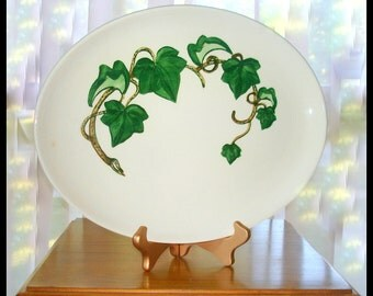 Oval Platter Vintage Now Discontinued  Poppytrail/Metlax's California Ivy Pattern White with Green Ivy Vines