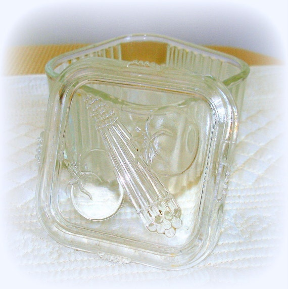 RESERVED FOR S.MAURER ... Vintage Glass Refrigerator Box with Glass Lid
