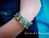 Charming Turquoise, Honey, and Auburn Bangle Bracelet Original zonkydonk Design