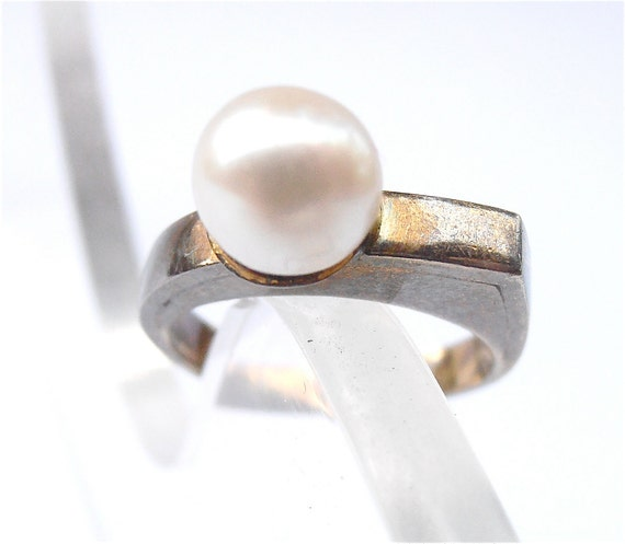 Vintage Pearl Ring White Pearl Ring 8k Gold Ring Yellow Gold Cultured Pearl Ring Real Pearl Vintage White Single Pearl Solitaire Ring Size 7