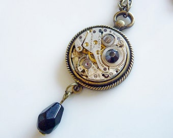 Steampunk necklace, Vintage watch pendant with crystals in a fob style setting ON SALE