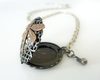 Locket , Steampunk inspired Filigree Pendant with dragonfly, swarovski and pearl, Vintage Vibe