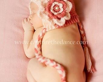 newborn photo prop,  coral bonnet newborn/ baby hat with a big flower, photography props, newborn girl, baby bonnet, newborn knits