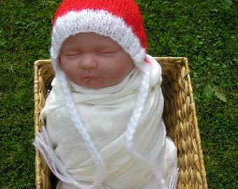 Christmas mohair newborn/ baby bonnet hat,  photography props, newborn photo prop, newborn knit hat, newborn boy, newborn girl, baby bonnet
