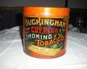 Vintage Tobbaco Tin   Buckingham Bright Cut Plug Smoking Tobacco, Collectors Tin