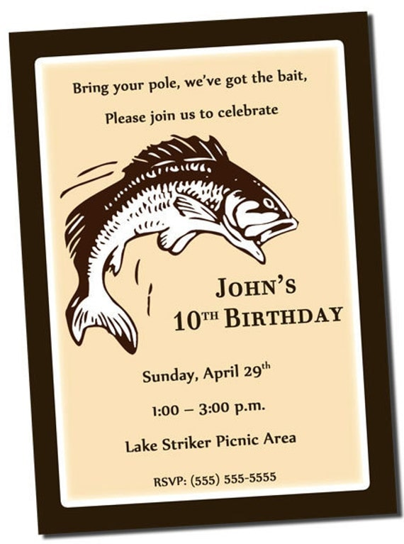 Items similar to fishing birthday party invitation for Fishing birthday party invitations