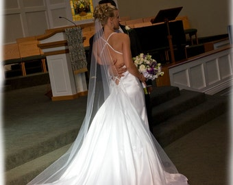 Backless Wedding Gowns, Silk Satin Mermaid with Full Removable Train, Custom Made in your size - Carrie Style