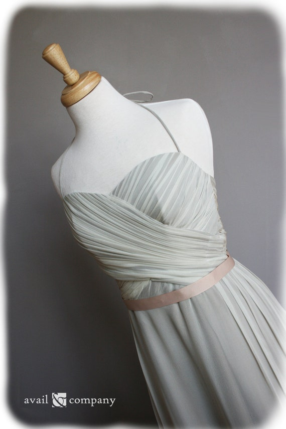 Gray Wedding Dress with ribbon belt, Custom Made in your size - Joy Style