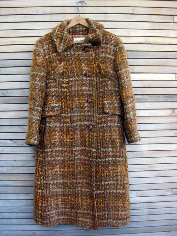 Vintage 1960s Brown Tweed Winter Coat, made in Scotland, autumn shades