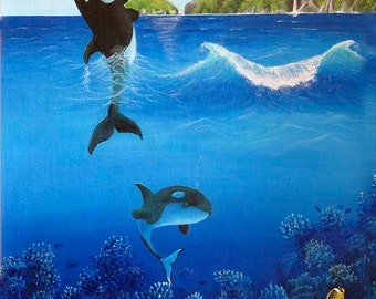 Orca's playing Giclee print
