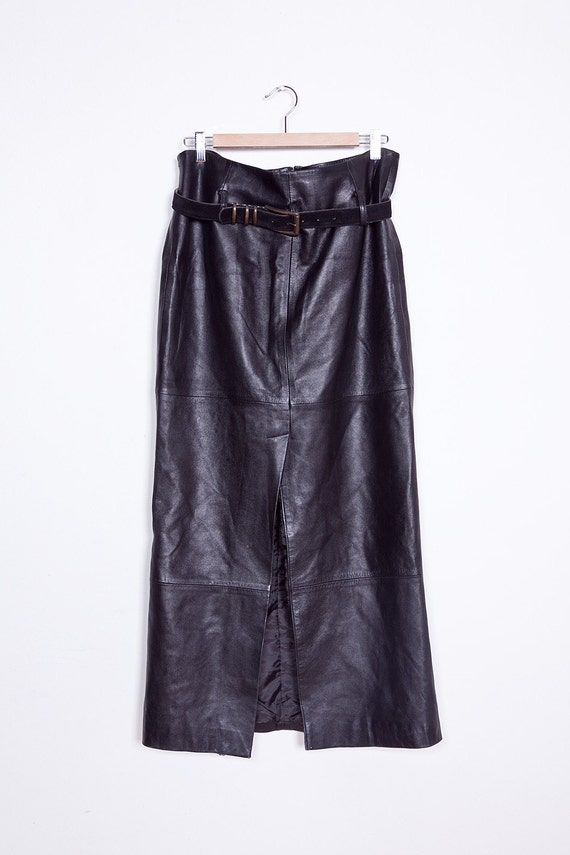 90s black leather gathered maxi skirt high by