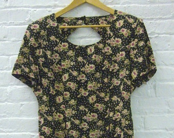 Black Floral Dress 80s Vintage Medium Large Garden Party Dress Open Back Key Hole Pink 90s Grunge Flower Print Boho Chic Secretary Dress