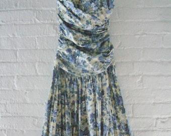 80s Prom Dress Vintage Floral Blue Cream Rose Cotton Sundress Strapless Full Skirt Rustic Wedding Small Med Laura Ashely Garden Party Dress