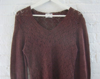 1970s Crochet Sweater 70s Vintage Brown Wool Small Medium V Neck Pullover Autumn Summer Copper Cocoa Boho Granny Chic Woven Knit Sweater
