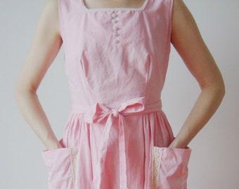 1950s Pastel Pink Fit and Flare Dress 50s Vintage Cotton NOS Square Neck V Back Full Skirt 1940s Sundress Work Wear Small Med Summer Dress
