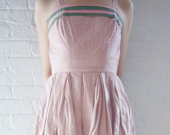 1950s Pink Green Sundress 50s Vintage Pat Premo Garden Party Dress Small Summer 1960s Stripe Cotton Full Pleated Skirt Fit and Flare Dress