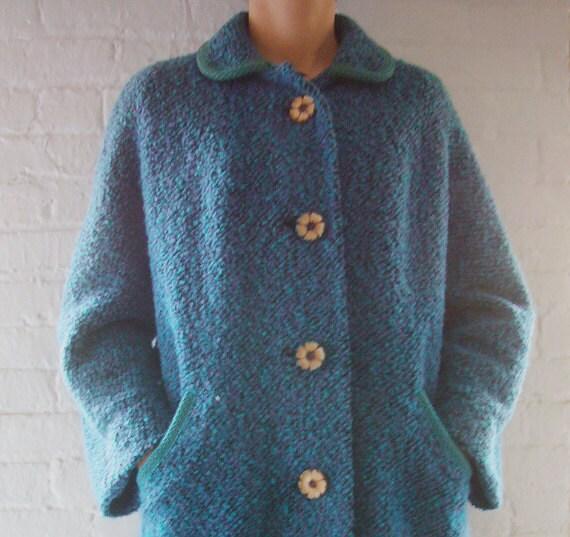 RESERVED 50s Blue Wool Coat Vintage Peacock Purple Boucle Car Coat Peter Pan Collar Flower Button Turquoise Plum Jacket Large Winter Coat