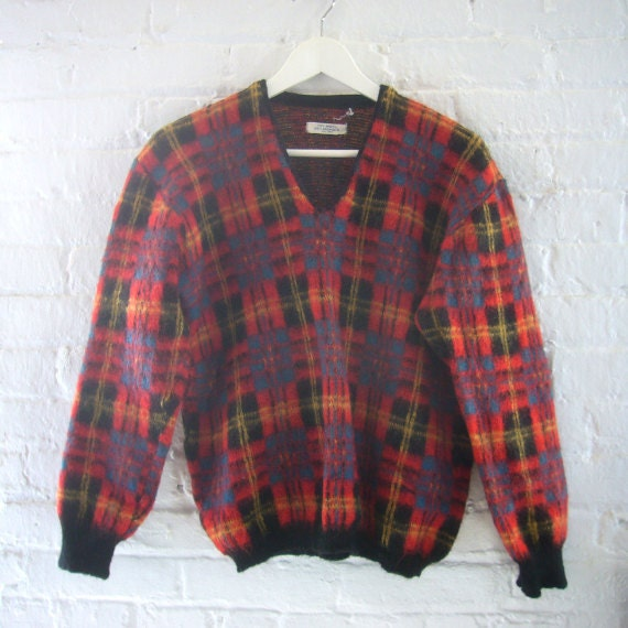 50s Wool Sweater Plaid Vintage 60s Mohair Sweater Mod Pullover Crop V neck Red Yellow Black Plaid Grampa Chic Preppy Back to School Sweater