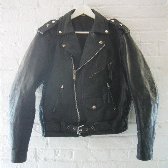 Black Leather Jacket 80s Vintage Motorcycle Jacket Biker Jacket Unisex Grunge Punk Rock Goth Industrial Steampunk Glam Rocker Leather Jacket