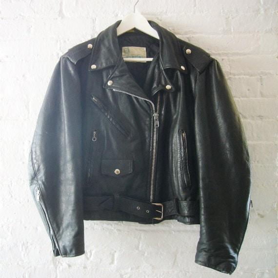 Black Leather Jacket Vintage Motorcycle Jacket Gino Leathers