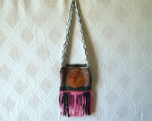 boho bag fringe pouch tooled leather upcycled ethnic print upcycled womens accessories
