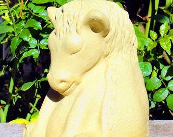 MEDIUM MEDITATING HORSE Solid Stone Garden Buddha Animal Sculpture (o)