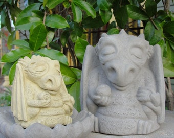 Stone MEDIUM MEDITATING DRAGON Original Copyrighted Garden Sculpture (a)