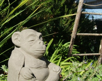 MEDIUM MEDITATING MONKEY  - Stone Garden Buddha Animal - Original Sculpture (a)