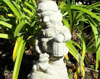 Vintage GNOME w/ FROG & LANTERN Soid Stone Garden Statue (c)