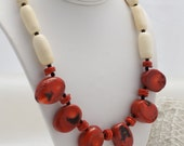 RUSTIC BEACH NECKLACE, Natural Red Coral by Cheydrea