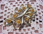 Golden Topaz Filigree Vintage Rhinestone Brooch