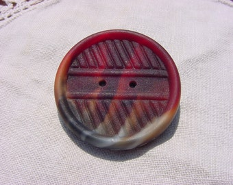 Red Tortoiseshell Faux Button Vintage NOS Czech Glass Brooch