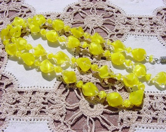 Vintage Sunny Yellow Givre Art Glass NOS West German Necklace
