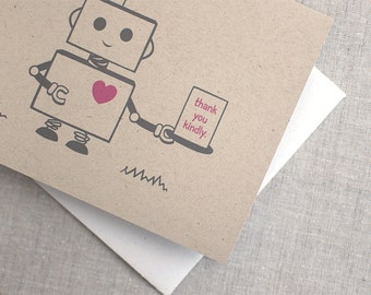 Thank You Card - Cute Robot, Brown Recycled Card, Nerdy, Kawaii - Thank You Kindly