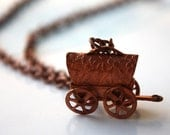 Copper Coated Steel Covered Wagon Pendant Necklace