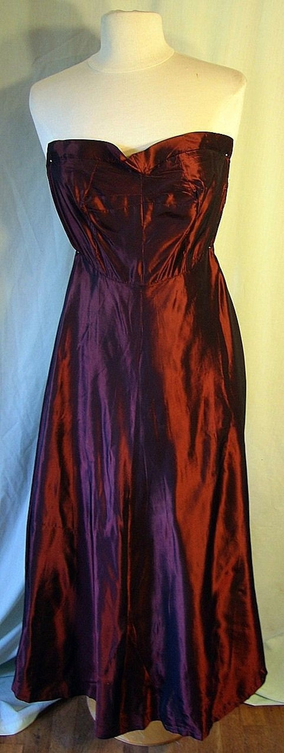 30s Dress Gatsby 1930s Dress Ladies Womans Women Prom Wedding Full Length Oxblood Vintage Sharkskin Ballgown Dress Matching Coat XS