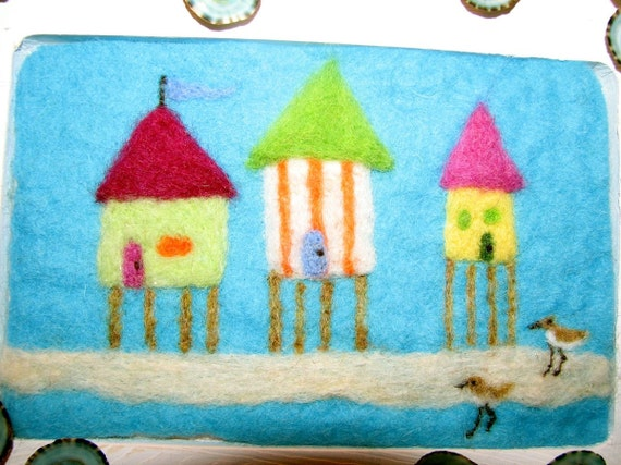 Spring Sale!!!!Beach Bunglaows- Needle Felted Picture In Whitewashed Frame, with Limpet Shells