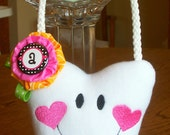 Tooth Fairy Pillow & FREE Button, Personalized Initial and Free I lost my tooth Button,with hanger