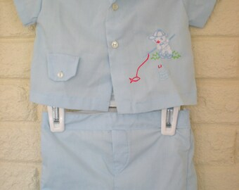 1970s Gone Fishing, Vintage Bear Fishing Blue Outfit, 3-6 Months